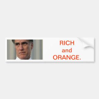 Mitt Romney es rico y anaranjado Pegatina Para Auto