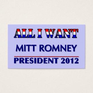 Mitt Romney For President 2012 Business Card