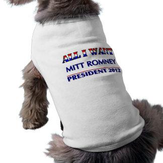 Mitt Romney For President 2012 Pet Tee