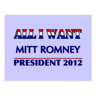 Mitt Romney For President 2012 Postcard