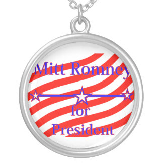 Mitt Romney For President Strips With 3 Stars And Round Pendant Necklace