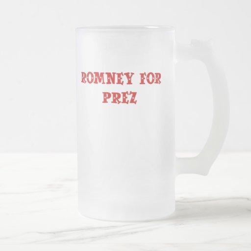 Mitt Romney for Prez 16 Oz Frosted Glass Beer Mug