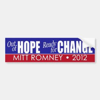 Mitt Romney - fuera de la esperanza y alista para  Etiqueta De Parachoque