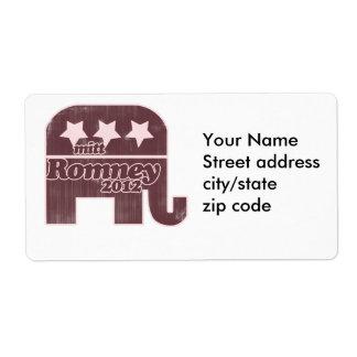 Mitt Romney GOP Logo Personalized Shipping Label