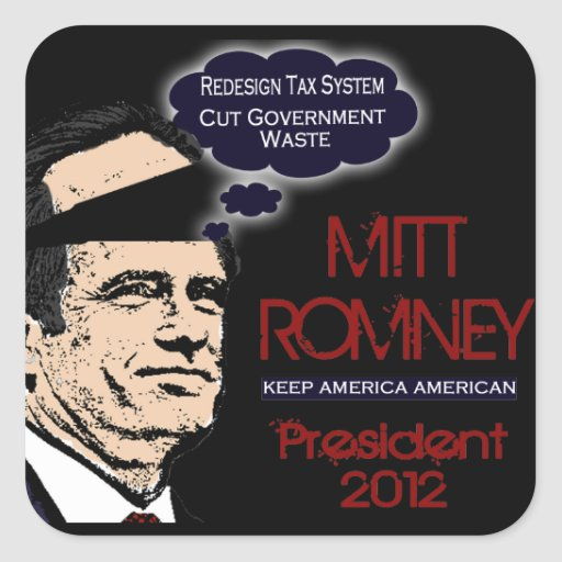 Mitt Romney guarda al americano 2012 de América Pegatina Cuadrada