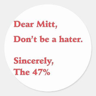 Mitt Romney Hates 47% of America Vote for Obama Classic Round Sticker