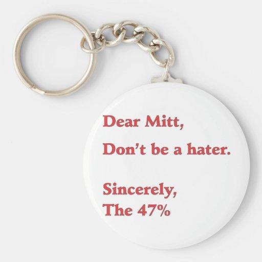 Mitt Romney Hates 47% of America Vote for Obama Keychains