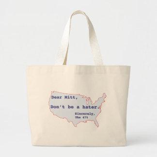 Mitt Romney Hates 47% of America Vote for Obama Large Tote Bag