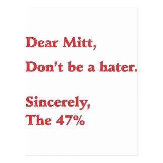 Mitt Romney Hates 47% of America Vote for Obama Postcard