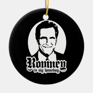 MITT ROMNEY IS MY HOMEBOY Double-Sided CERAMIC ROUND CHRISTMAS ORNAMENT