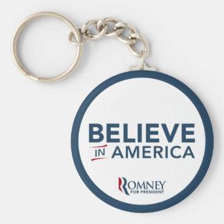 Mitt Romney Logo Believe In America Keychain