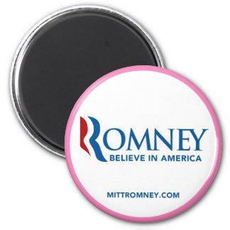 Mitt Romney Logo Believe In America (Pink Border) Magnet