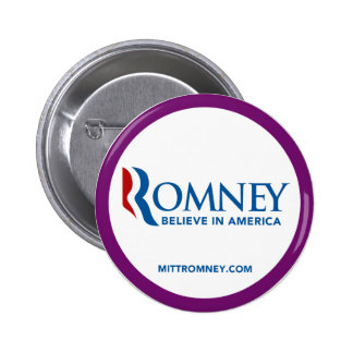 Mitt Romney Logo Believe In America Purple Border Pinback Buttons
