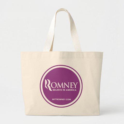 Mitt Romney Logo Believe In America (Purple) Jumbo Tote Bag