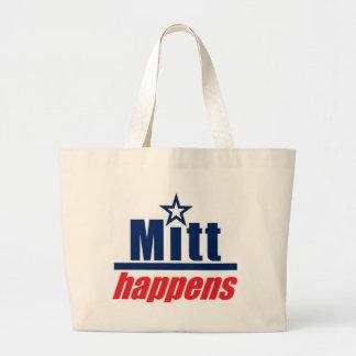 "Mitt Romney ""Mitt Happens"" Large Tote Bag"