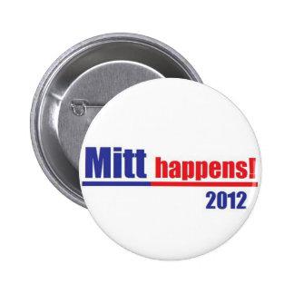 "Mitt Romney ""Mitt Happens"" Pinback Button"