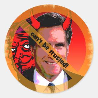 Mitt Romney no puede ser de confianza Pegatina Redonda