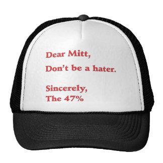 Mitt Romney odia el 47 del voto de América para O Gorros Bordados