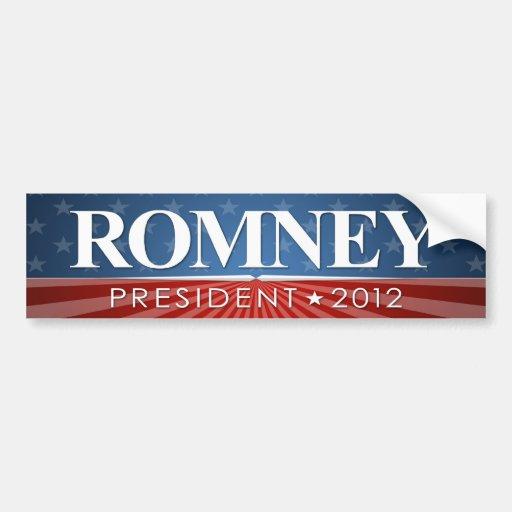 Mitt Romney para el presidente 2012 Pegatina De Parachoque