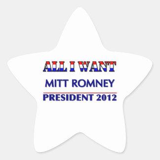 Mitt Romney para el presidente 2012 Pegatina En Forma De Estrella