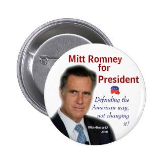Mitt Romney para el presidente Pin Redondo 5 Cm