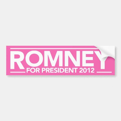 Mitt Romney para el rosa 2012 del presidente pegat Etiqueta De Parachoque