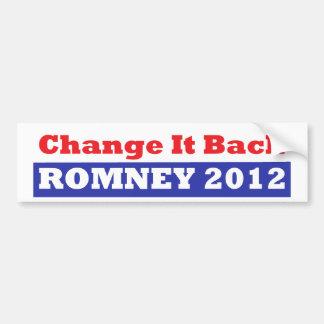 Mitt Romney para las barras y estrellas del presid Etiqueta De Parachoque