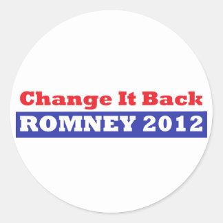 Mitt Romney para las barras y estrellas del presid Etiqueta Redonda
