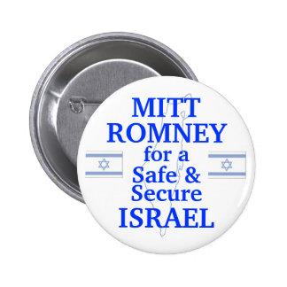 Mitt Romney para un Israel seguro 2012 Pin Redondo 5 Cm