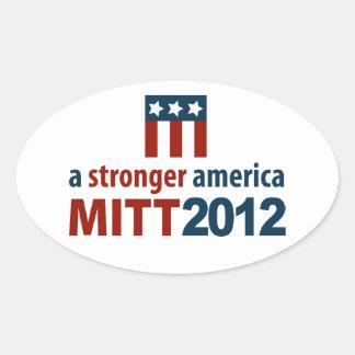 Mitt Romney para una América más fuerte Pegatinas Oval Personalizadas