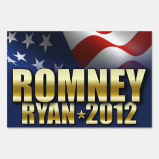 Mitt Romney Paul Ryan 2012 Gold Sign
