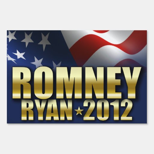 Mitt Romney Paul Ryan 2012 Gold Yard Signs