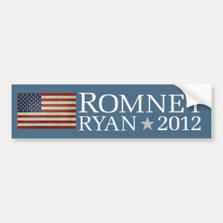 Mitt Romney Paul Ryan American Flag Design Car Bumper Sticker