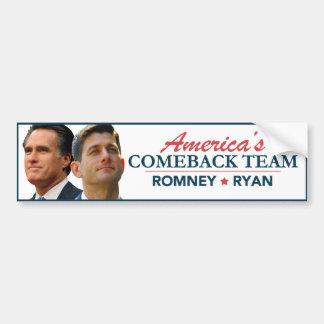Mitt Romney Paul Ryan America's Comeback Team Car Bumper Sticker