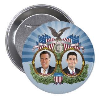 Mitt Romney Paul Ryan Jugate Pin Redondo De 3 Pulgadas