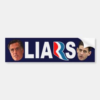 Mitt Romney Paul Ryan LIARS Bumper Sticker Car Bumper Sticker