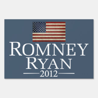 Mitt Romney Paul Ryan with American Flag Sign