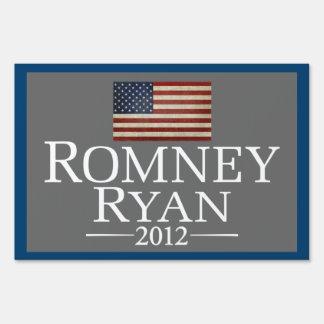 Mitt Romney Paul Ryan with American Flag Signs