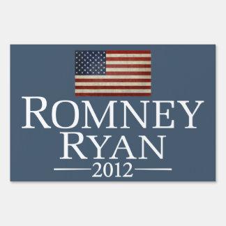 Mitt Romney Paul Ryan with American Flag Lawn Signs