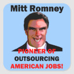 Mitt Romney pionero Colcomanias Cuadradas Personalizadas