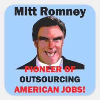 Mitt Romney pionero Pegatina Cuadrada