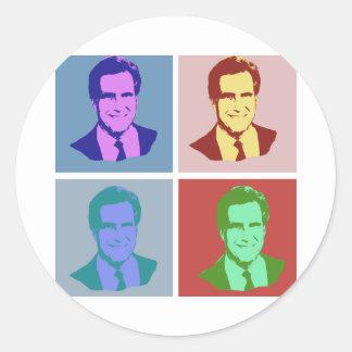 MITT ROMNEY Pop Art Round Stickers