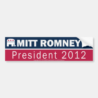 Mitt Romney President 2012 Republican Elephant Car Bumper Sticker