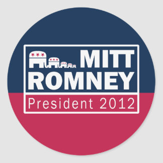 Mitt Romney President 2012 Republican Elephant Round Stickers