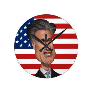 Mitt Romney Presidential Caricature USA Round Clocks