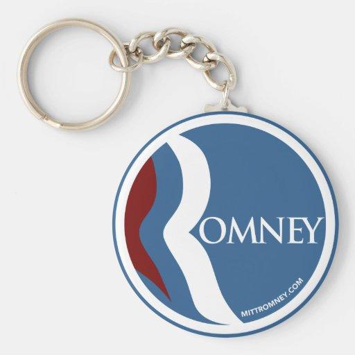 "Mitt Romney ""R"" Logo Circle (Blue) Keychain"