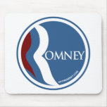"Mitt Romney ""R"" Logo Circle (Blue) Mouse Pads"