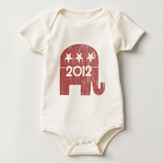 Mitt Romney Republican Elephant 2012 (Distressed) Baby Bodysuit