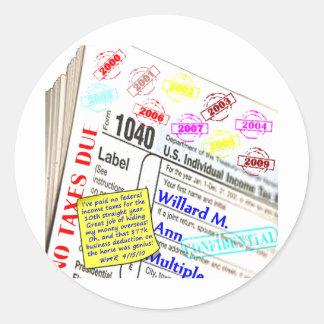 Mitt Romney's 2009 Tax Return Classic Round Sticker
