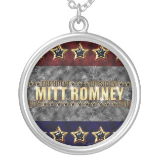Mitt Romney Stars and Stripes Round Pendant Necklace
